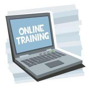 online training maken handgetekende illustratie blauw laptop