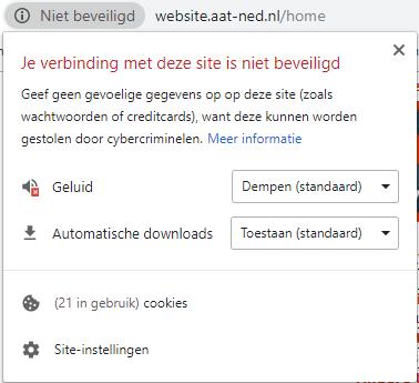 de verbinding met deze site is niet beveiligd: voorbeeld van een waarschuwing door een internetbrowser voor een website zonder ssl certificaat