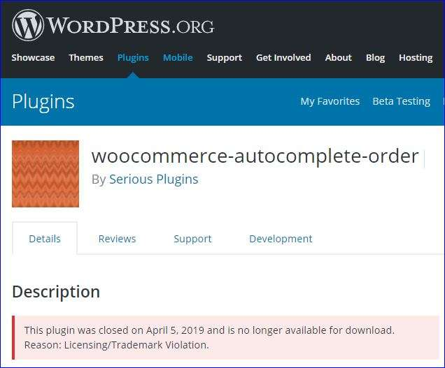WooCommerce Autocomplete Orders plugin vervangen!