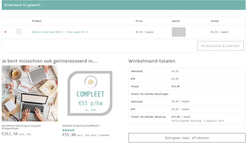 directe winkelmand link maken voorbeeld van de winkelmand pagina met het product dat is toegevoegd
