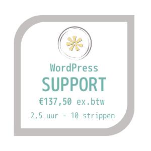 WordPress support kaart, afbeelding met logo en prijs: €137,50afbeelding
